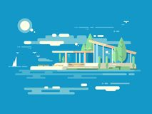 Modern house design flat style Royalty Free Stock Images