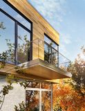 Modern house design with siding. Modern house exterior design with siding royalty free stock images