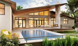 Exterior and interior design of a modern house with a pool. Modern house design with swimming pool stock images