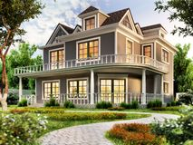Modern house design with terrace. Modern house design with a large terrace stock images