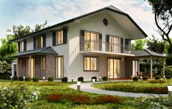 Modern house design with a terrace. Modern white house with swimming pool stock photography