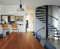 Modern house, dining-room Royalty Free Stock Photos
