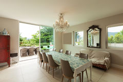 Modern house, dining room Royalty Free Stock Images