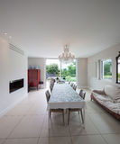 Modern house, dining room Royalty Free Stock Image