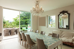 Modern house, dining room Stock Images