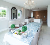 Modern house, dining room Royalty Free Stock Photos