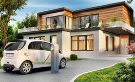 Luxury modern house and electric car royalty free stock images