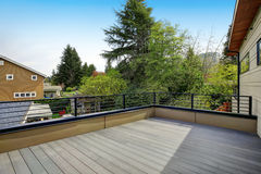 Modern house with empty deck. Beautiful modern house with empty deck, outdoor. Northwest, USA royalty free stock photos
