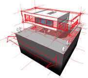 Modern House Enlargement Diagram Stock Photo