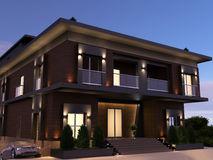 Modern House In the Evening Royalty Free Stock Images