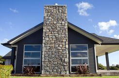 Modern House Exterior 3. A modern home exterior with a stone chimney Royalty Free Stock Photos