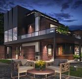 Modern house exterior. 3D Rendering stock illustration