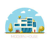Modern house. Flat design vector illustration Royalty Free Stock Image