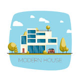 Modern house. Flat design vector illustration Royalty Free Stock Photography