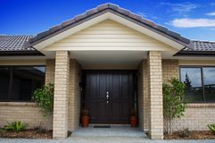 Modern House Front Entrance. A modern house entranceway and front door Royalty Free Stock Images