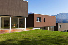 Modern house with garden Stock Images