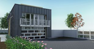 Modern house with garden and garage. 3d rendering. Modern house with garden and garage. 3d rendering stock illustration