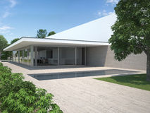 Modern house with garden and pool. Exterior view of a modern house with garden and pool Royalty Free Stock Photography