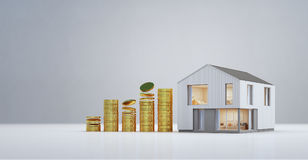 Modern house with gold coins in property investment and business growth concept, Buying new home for big family. 3d rendering of residential building Royalty Free Stock Image