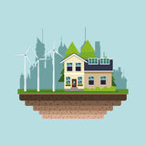 Modern house green energy wind turbine city background royalty free illustration