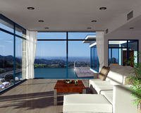 Modern house interior with beautiful view Royalty Free Stock Images