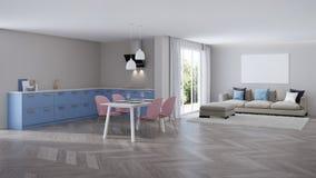 Modern house interior. Blue Kitchen. 3D rendering vector illustration