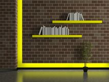 Modern house interior, brick wall with book shelves Royalty Free Stock Image