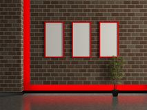 Modern house interior, brick wall with frame Royalty Free Stock Images