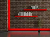 Modern house interior, dark brick wall with book shelves Stock Image