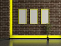 Modern house interior, dark brick wall Royalty Free Stock Image