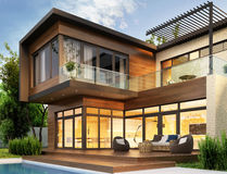 Modern house. Interior and exterior design