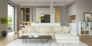 Free Modern House Interior In Scandinavian Style/ 3d Rendering Royalty Free Stock Image - 138812736