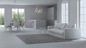 Modern house interior. Repairs. Gray interior. 3D rendering royalty free stock photography