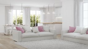 Modern house interior. White interior. 3D rendering stock images