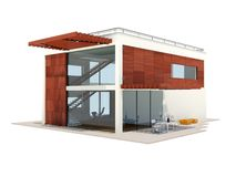 Modern house isolated on white Royalty Free Stock Image