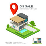 Modern house isometric with red point map. On sale concept design background,  illustration Royalty Free Stock Photo
