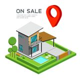 Modern house isometric with red point map, on sale. Design  on white background, vector illustration Stock Photography