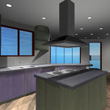 Modern House-Kitchen Stock Photo