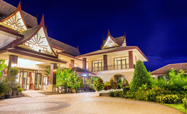 Modern house. Large modern house in Chinese style in the evening Royalty Free Stock Photo