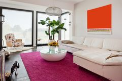 Modern house, living-room Royalty Free Stock Photo