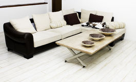 Modern house,living-room with the modern furniture. Sofa and little table in white and brown color Royalty Free Stock Image