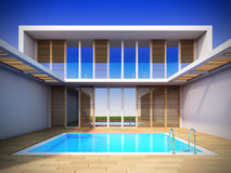 Modern house in minimalist style. Stock Photos