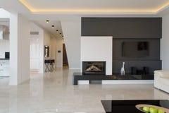 Modern house in minimalistic design. Modern house in minimalistic black and white design Royalty Free Stock Photos