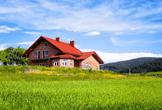 Modern house in the mountains royalty free stock image