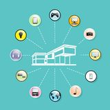 Modern house network connection flat icons set Stock Photos