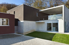 Modern house, outdoor. Beautiful modern house, back view Royalty Free Stock Photography