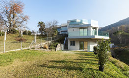Modern house, outdoor. Modern architecture, view from the ground Stock Photography