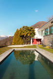 Modern house, outdoor. Modern house with swimming pool, outdoor Stock Photography