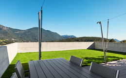 Modern house, outdoor. View from veranda Stock Image