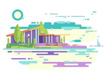 Modern house with panoramic windows. Apartment house with balcony and beauty view, architecture building. Vector illustration Royalty Free Stock Photo